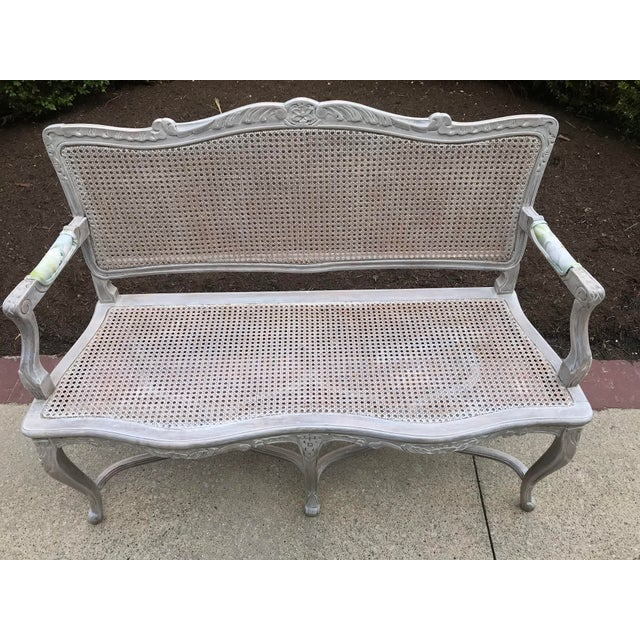 Dove Gray 1950s Vintage Country French Caned Carved Settee Designers Guild Floral Peony Print For Sale - Image 8 of 10