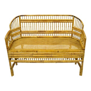 Vintage Brighton Pavilion Style Bamboo Rattan Settee Loveseat Chinese Chippendale For Sale