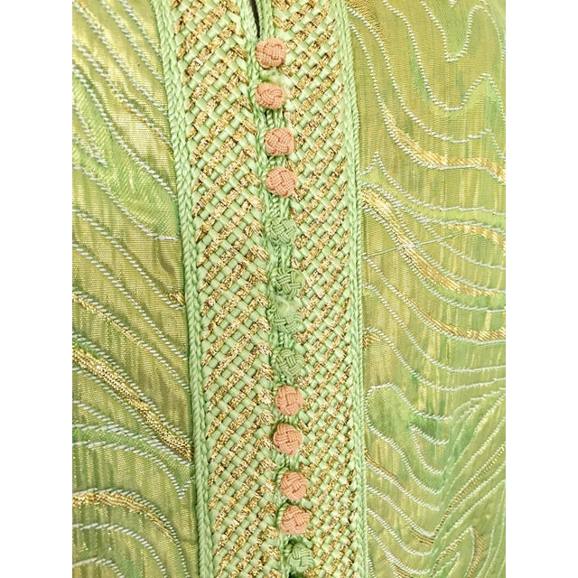 Moroccan Kaftan in Green and Gold Brocade Metallic Lame For Sale - Image 9 of 12