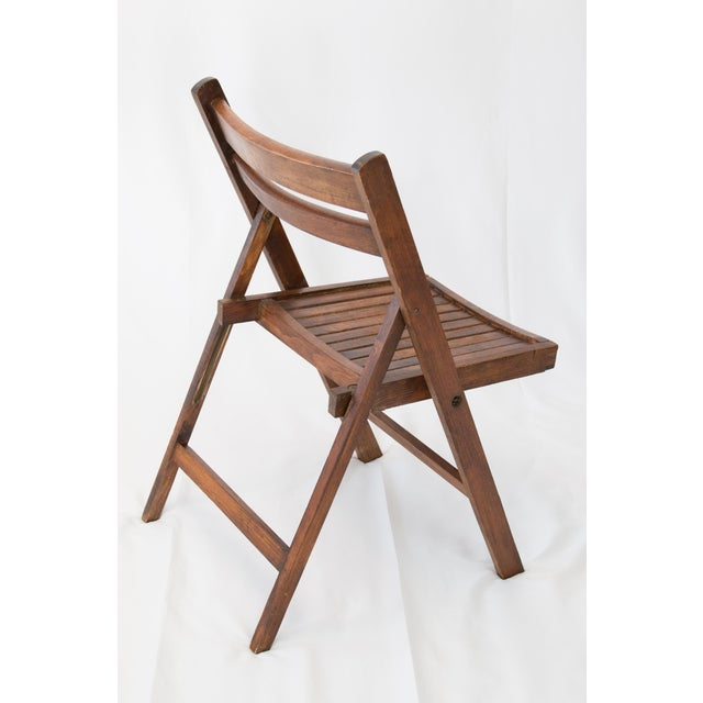 Mid-Century Slat Wood Folding Chair For Sale - Image 4 of 6
