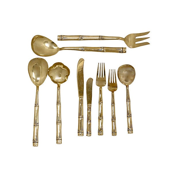 Mid 20th Century Mid-Century French Gold-Tone Flatware - Svc for 8 For Sale - Image 5 of 5