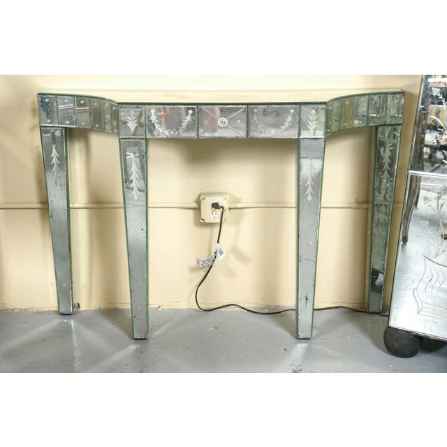 Etched Glass Mirrored Consoles - A Pair - Image 2 of 9