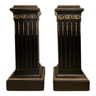 Hollywood Regency Neoclassical Ebony Pedestals, Bronze Mounted Marble Tops - a Pair For Sale