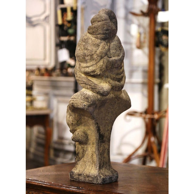 Gray Early 20th Century French Weathered Cast Stone Garden Statuary Female Bust For Sale - Image 8 of 13