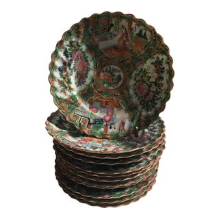 19th Century Chinese Export Rose Medallion Porcelain - Set of 12 Saucers For Sale