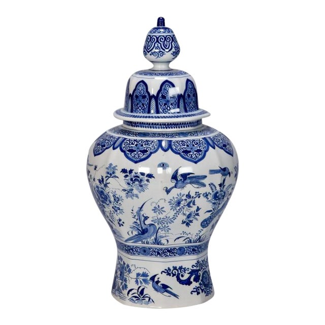 Large Blue and White Chinese Ginger Jar or Dutch Vase with Lid For Sale