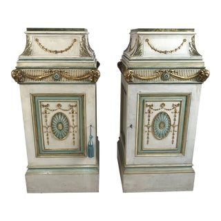 Circa 1920 English Painted Pedestals - A Pair For Sale