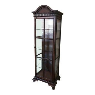 Lighted Curio Display Cabinet Wood & Glass For Sale