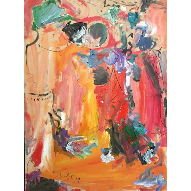 Abstract Abstract Oil Painting by Sean Kratzert 'Buddies' For Sale - Image 3 of 3