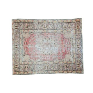 "Antique Distressed Oushak Rug - 4'6"" X 5'10"" For Sale"