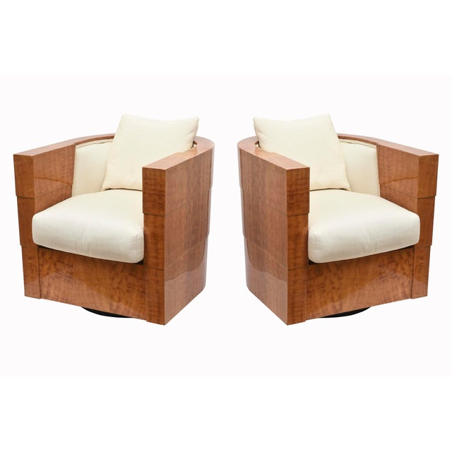 This pair of stunning and oh so chic luxe Pace exotic wood swivel club chairs were designed by James Rosen of the Pace...
