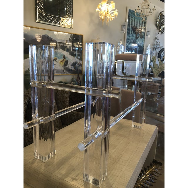 Vintage Lucite dining table or desk base. Chunky Lucite columns. The legs can slide in or out to adjust the depth or...