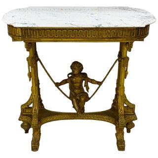 Exquisite French Giltwood Swinging Putto Marble Top Table/ Ferner For Sale