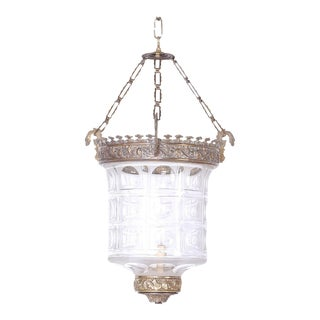Antique Glass and Brass Pendant For Sale