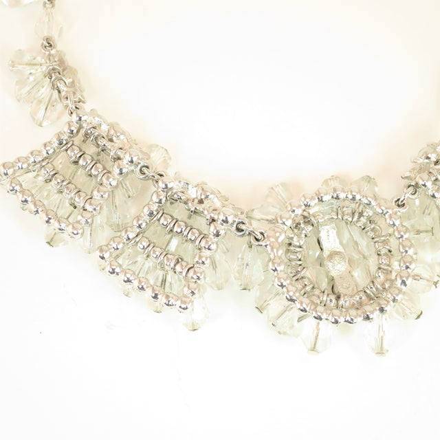 Mid-Century Hand-Made Austrian Crystal Cluster Necklace Suite 1950 For Sale - Image 9 of 13
