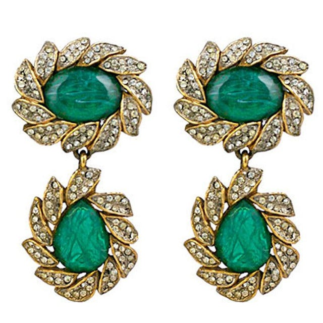 Kenneth Jay Lane Kjl Earring of Emeralds and Pastes For Sale - Image 4 of 4