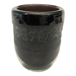 Signed James Parsons Sandblasted Sommerso Purple Black Cased Glass Vase Vermont For Sale