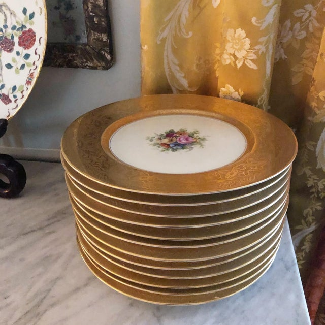 Heinrich and Co. Selb Bavarian Dinner or Service Plates Gold Encrusted With Center Floral Design - Set of 12 For Sale In Savannah - Image 6 of 6