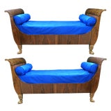 Image of French Empire Walnut Sleigh Beds With Gilt-Wood Hair Paw Feet - A Pair For Sale