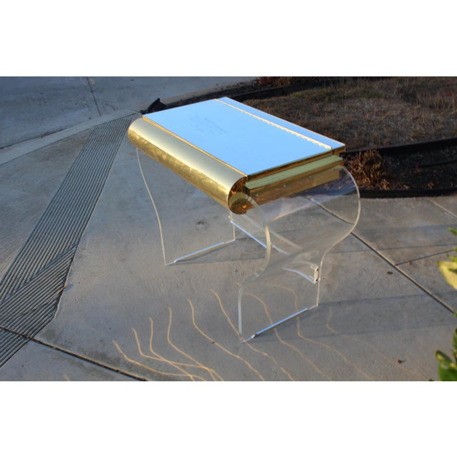 Mid Century Modern Gold and Lucite Vanity For Sale - Image 10 of 10
