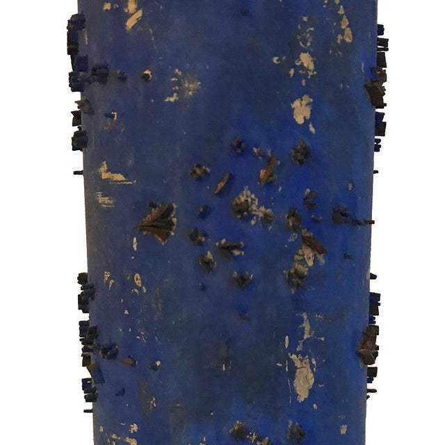 Boho Chic Klein Blue Wallpaper Roller Table Lamp For Sale - Image 3 of 4