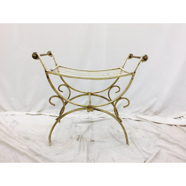 Beautiful Vintage Mid Century Wrought Iron & Brass Bar Chair. Hollywood Regency Style. Perfect Bench Seating for a Vanity...