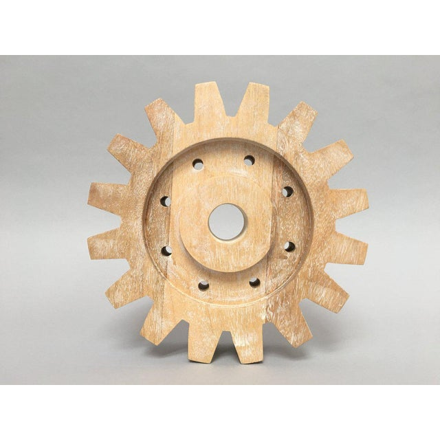 Industrial Rustic Modern Whitewashed Wood Cog Sculpture For Sale - Image 10 of 10