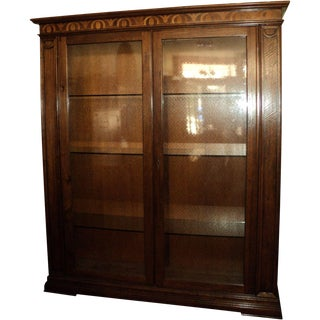 Inlaid Walnut Wood China Cabinet