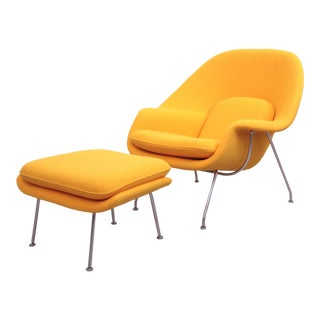 Eero Saarinen Womb Chair with Ottoman by Knoll in New Kvadrat Fabric For Sale