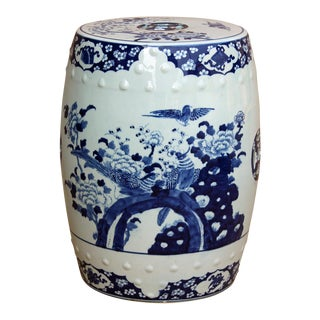 Chinese Blue & White Porcelain Flower Birds Round Stool Table For Sale