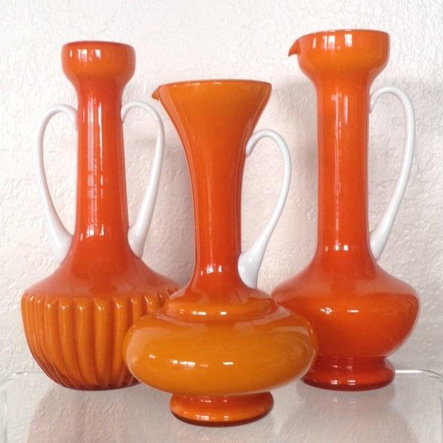 Cased Orange Empoli Vessels - Set of 3 - Image 2 of 6