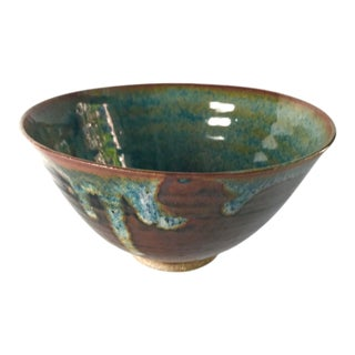 1970's Vintage Japanese Studio Pottery Drip Glaze Bowl For Sale