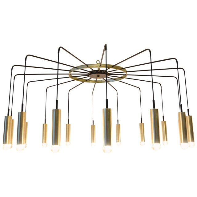 Brass and Steel Modern Spider Chandelier For Sale - Image 11 of 11