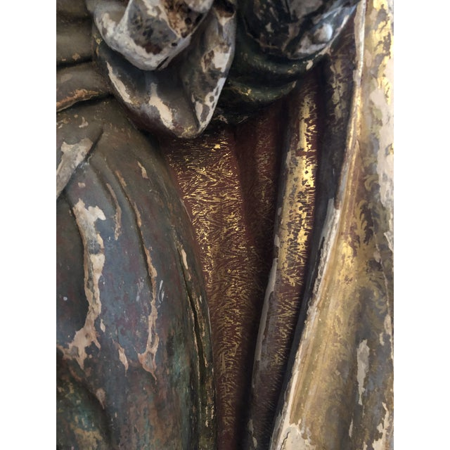 17th Century Continental Carved Wood Gesso Polychrome Apostle Sculpture For Sale - Image 12 of 13