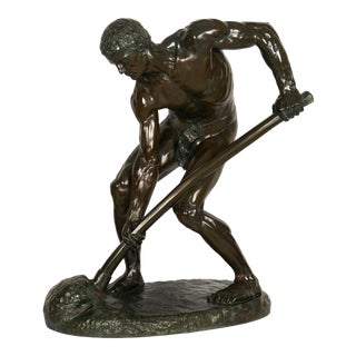 """""""a La Terre!"""" (1890) French Antique Bronze Sculpture by Alfred Boucher & Barbedienne For Sale"""
