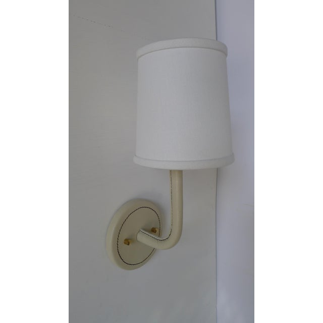 Modern Paul Marra Top-Stitched Leather Wrapped Sconce in Cream For Sale - Image 3 of 5