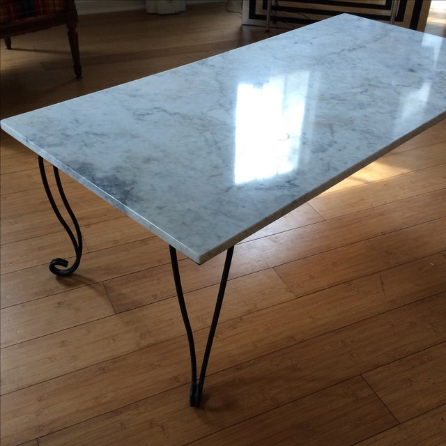 Umstead Oval Engineered Wood Coffee Table: Marble & Metal Coffee Table