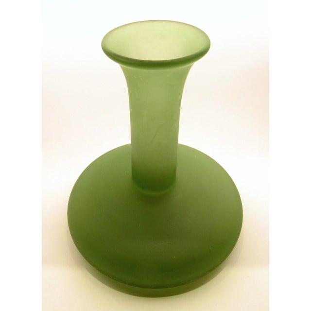 Vintage Mikasa Japan Hand Blown Satin Green Glass Flower Vase Chairish
