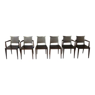 Set of 6 Edward Wormley for Dunbar Dining Room Chairs, 4 Arms, 2 Sides Circa 1955 For Sale