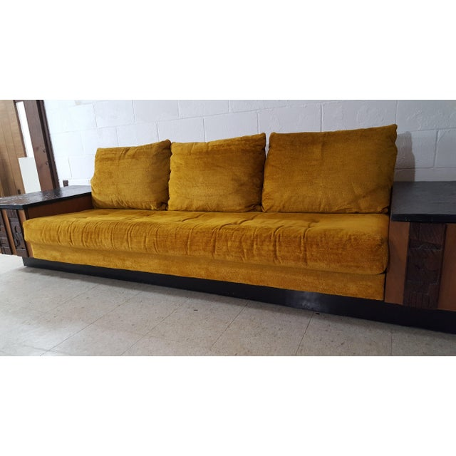 Mohair 1970s Brutalist Lane Furniture 'Pueblo' Sofa W/ Attached End Tables For Sale - Image 7 of 13