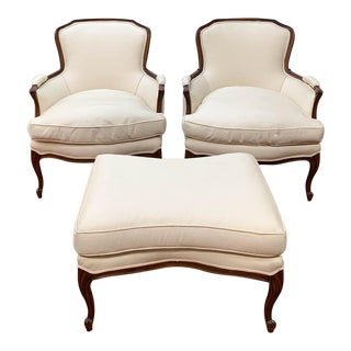 Pair of French Arm Chairs With Bow Tie Ottoman For Sale