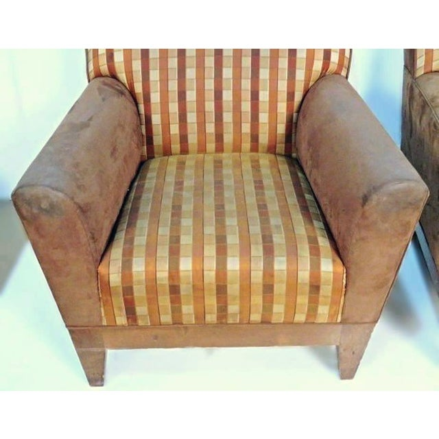 Modern Suede Upholstered Lounge Chairs - A Pair For Sale - Image 4 of 10