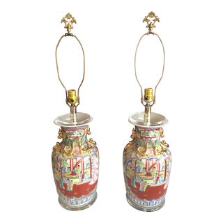 Chinese Rose Mandarin Vessels Fitted as Lamps - a Pair For Sale