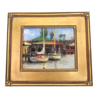 Tom Ross Sailboats at Dock Framed Acrylic Painting For Sale