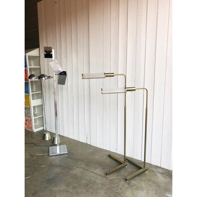 Casella Casella Adjustable Brass Pharmacy Floor Lamps - a Pair For Sale - Image 4 of 10