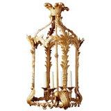 Image of French Louis XVI Style Gilded Iron Pendant Lantern For Sale