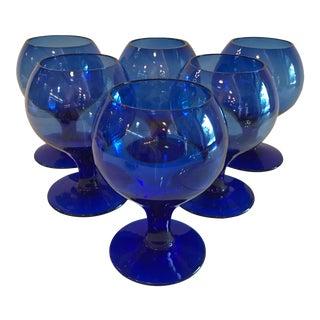 Vintage Hand Blown Cobalt Blue Stemmed Goblets - Set of 6 For Sale