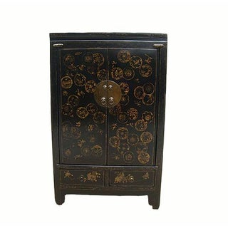 Oriental Hand Painted Dandelions Elm Cabinet Preview