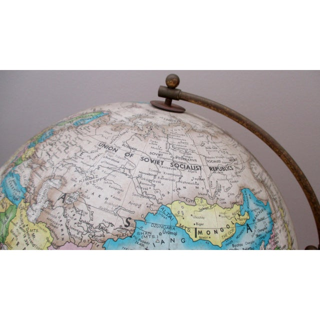 Sleek Modernist Floor Globe on Wood & Metal Stand For Sale - Image 10 of 11