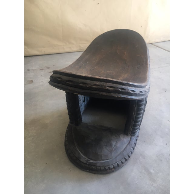 Wood Carved Wood African Stool Table For Sale - Image 7 of 9
